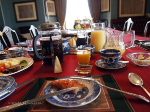 Breakfast table at Balfour Castle