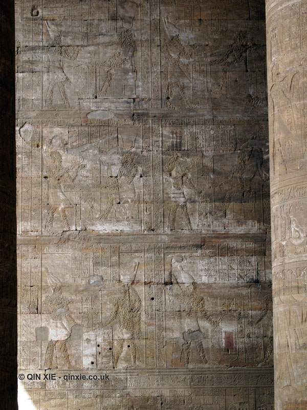 Chisled out wall of hieroglyphs, Temple of Horus, Edfu