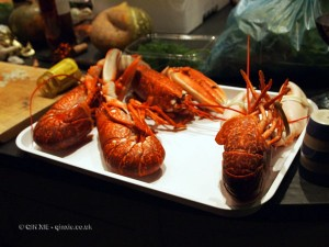 Cooked lobsters in Cornwall