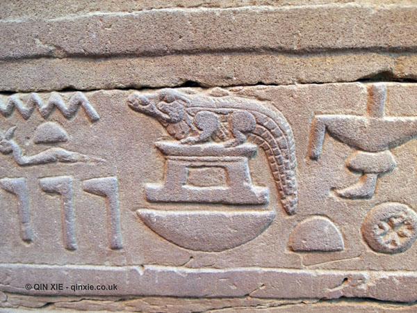 Crocodile hieroglyph, Ptolemic Temple, Kom Ombo
