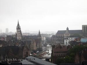 Foggy cityscape, Ghent, Belgium