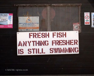 Fresh fish sign in Aldeburgh, Suffolk