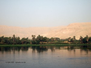 Green bank and mountains, Cruise on the Nile