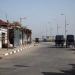 Horse drawn carriages on road, Edfu, Egypt