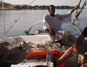 Man steering, Felucca ride on the Nile