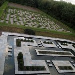 Maze in landscaped garden at Balfour Castle
