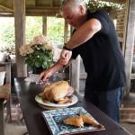 Paul carving turkey, Kelly Bronze, Essex