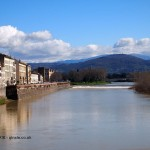 River to mountain view, Florence, Italy