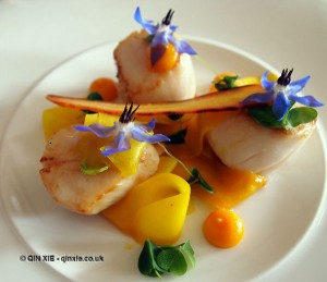 Salad of warm scallops and pickled carrots at Catch and Cook with Simon Hulstone in Torquay