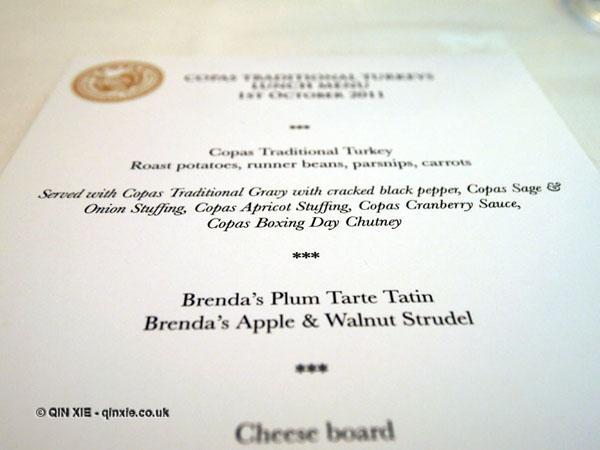 Turkey menu at Copas farm