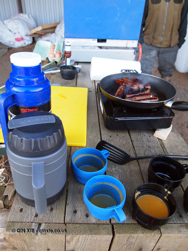 Venison sausage breakfast in Cornwall