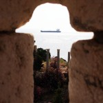 View through ruins at Byblos, Beirut, Lebanon