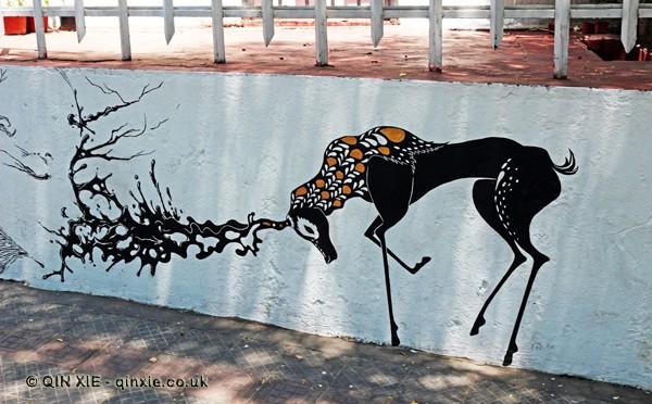 Stag graffiti, Santiago, Chile