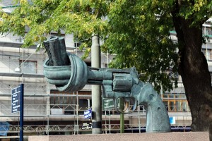 Gun sculpture in Gothenburg, West Sweden