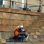Man with guitar in Gothenburg, West Sweden